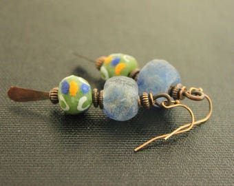 Bohemian Earrings - African Krobo Glass - Recycled Glass - Minimalist Earrings - Oxidized Copper Paddles - Rustic - Tribal Boho - Primitive