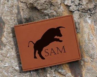Personalized-Engraved Bifold Wallet-Personalized Hunting-Full Size Art Work-Rawhide-Bull