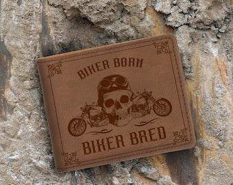 Biker Born-Biker Bred-Motorcyle and Skull-Engraved Bifold Wallet-Dark Brown