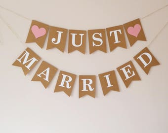 Just married bunting banner rustic wedding decorations