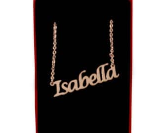 Isabella Name Necklace Stainless Steel/ 18ct Rose Gold Plated | Christmas Present