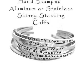Hand Stamped Aluminum Cuff Bracelet Stainless Steel Skinny Hammered Stacking Cuffs Customized Personalized Jewely Engraved Mantra Bracelet
