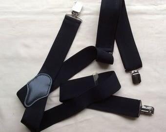 Vintage braces/suspenders, black dress braces, crocodile clips, menswear.
