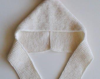 Hat(Cap) hand-knitted woolen baby birth in 24 months ecru with pompom