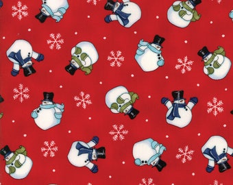 Snow Much Fun #19803-14, Deb Strain, Red Fabric, Christmas Fabric, Snowmen, Snowman, Snow Men, Moda Fabrics, IN STOCK