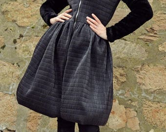 ON SALE Black Quilted Jacket with Faux Fur Sleeves / Black Extravagant Dress Jacket / Black Quilted Winter Jacket TC79