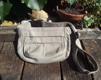 Beige canvas fanny pack,hip bag,belt bag