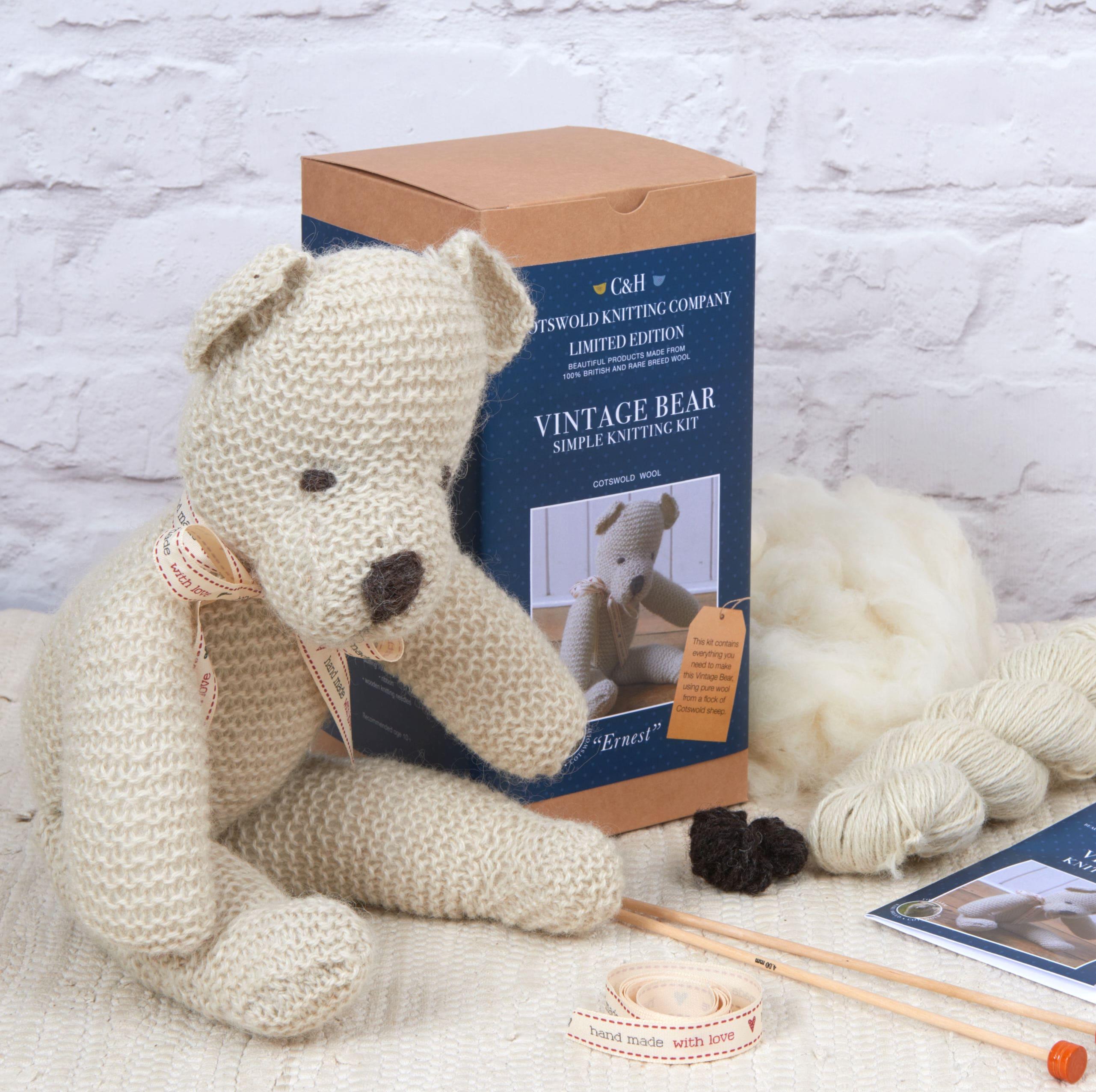Beginner Knitting Kits Canada : Limited edition vintage teddy bear knitting kit 'ernest