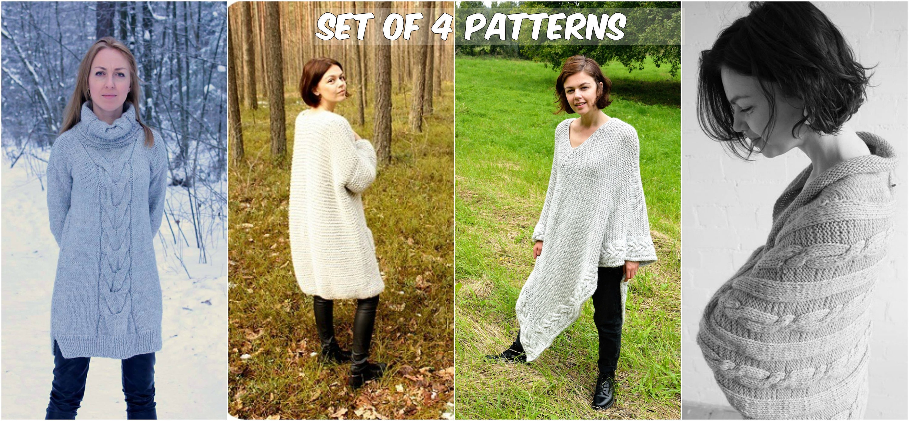 Set of 4 knitting patterns cocoon shrug bolero tunica pdf this is a digital file bankloansurffo Gallery