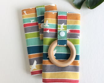 Ready to Ship - ORGANIC Baby Carrier Drool Pads with Wooden Teething Ring (for Ergo, Beco, Boba, Tula, Lillebaby, etc.)