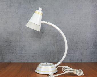 Vintage Gooseneck Desk Lamp White with Yellow Stripes