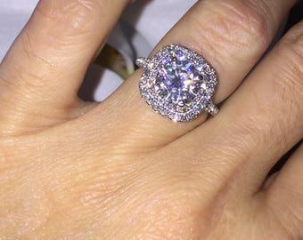 Forever one Moissanite Ring 1.90ct Colorless Forever one Moissanite Platinum Halo Engagement Ring .63ct Diamonds Pristine Custom Rings