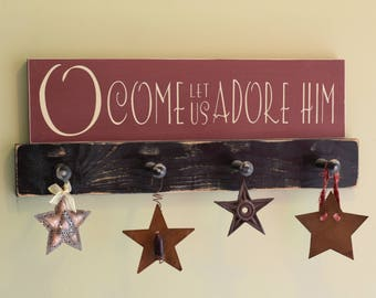 "O Come Let Us Adore Him 22"" x 5.5""  Wooden Sign Wood Plaque Joy to the World"
