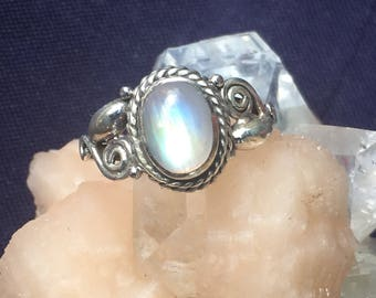 Moonstone Silver 92.5 Ring US Size 5   stone setting 11mm x 8mm