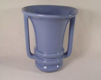 Vintage Vase Periwinkle Blue Mid Century with Handles        W115