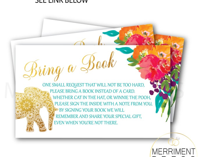 Elephant and Indian Themed Bring a Book Card // Gold // Watercolor // Mandala // Colorful // Bollywood // Printed Cards // JAIPUR COLLECTION