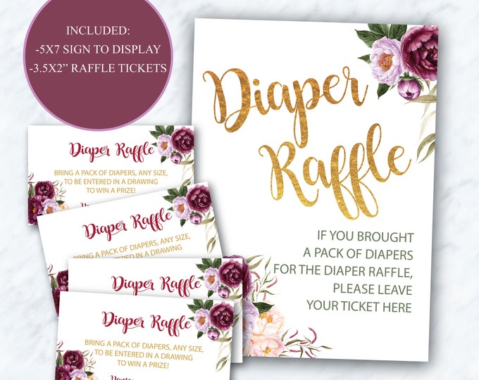 Burgundy Floral Diaper Raffle Ticket + Sign // Peony // Gold // Watercolor // Floral // Purple // Instant Download // FLORENCE COLLECTION