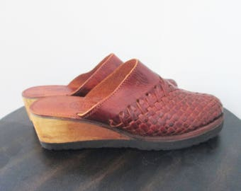 Vintage Woven Brown Leather Huarache Clogs, Wedge Heel Size 6.5- 7 70s