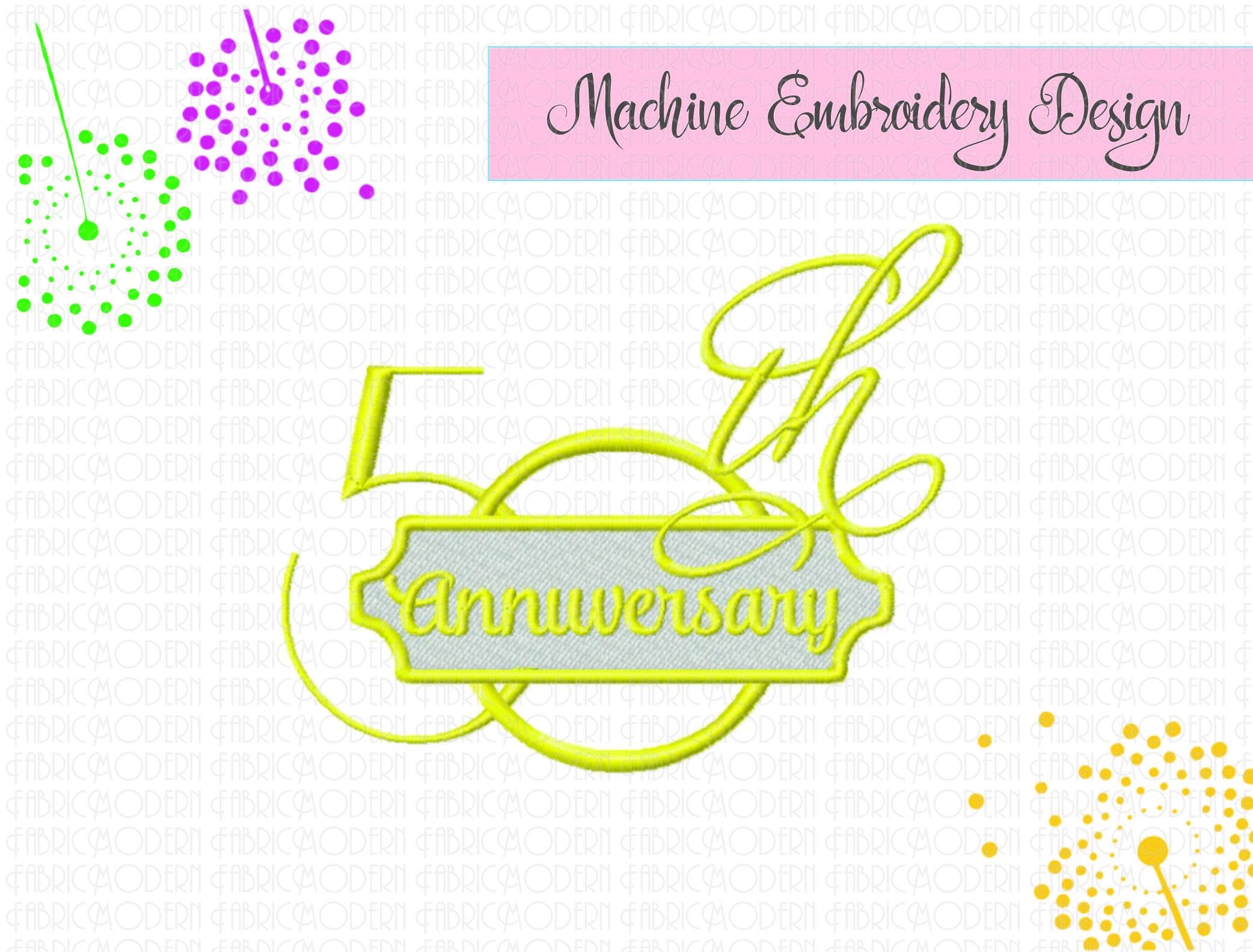Th anniversary embroidery design wedding