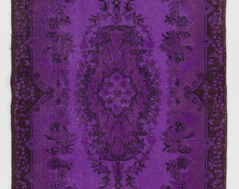 "Overdyed Rug 3'10"" x 7' (118 x 213 cm) Turkish Handmade Vintage Rug, Purple Overdyed Rug"