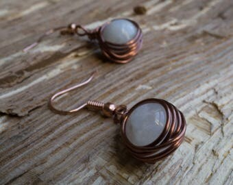 Copper wrapped Moonstone earring set