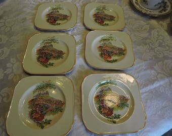 H & K TUNSTALL A Bit of Old England  Set of 6 Bread Plates 1930'S