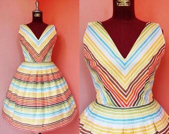 Rockabilly Dress Women 50s Dress Summer Dress Day Dress Sun Dress Striped Dress Rainbow Dress V Neck Dress Pleated Mini Dress Small Size 4