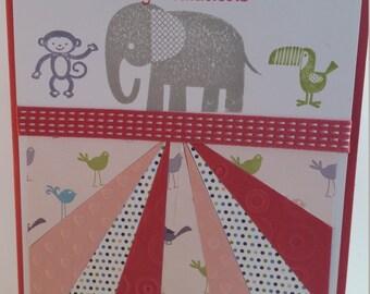 Baby Elephant Starburst baby card, welcome baby card, congratulations baby card, girl baby card, boy baby card, handmade in Australia