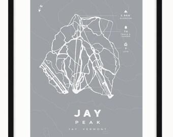 Jay Peak - Ski Trail Map Art Print - Ski Vermont