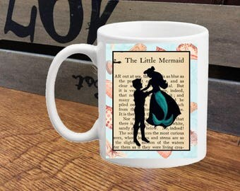 Little Mermaid Ariel and Eric Silhouette Mug with Text Wedding, Engagement, Gift