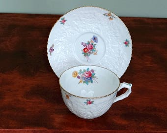 Copeland Spode Savoy Dresden Rose China Tea Cup and Saucer