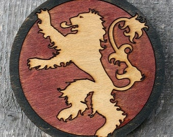 Lannister Game of Thrones Wood Coaster | Rustic/Vintage | Hand Stained and Glued