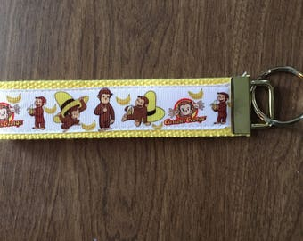 Curious George Key Chain Wristlet Zipper Pull