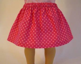 Pink Polka Dot Skirt for American Girl Doll and 18-inch Dolls - Doll Hot Pink Polka Dot Skirt