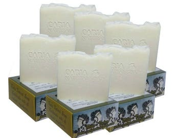 6 x CARIA Pure Castile Olive Oil Soap Bar Fragrance Free Traditional Turkish