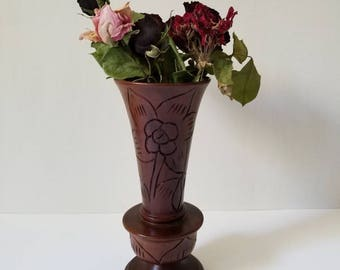 Vintage Wooden Engraved Rose Vase