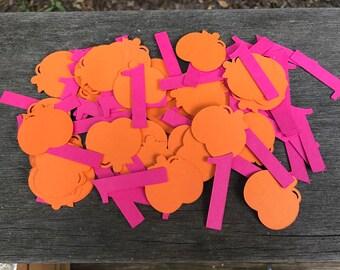 100 count Pumpkin Birthday Confetti, Pumpkin Party Decorations, Pumpkin Birthday- CHOICE OF COLORS