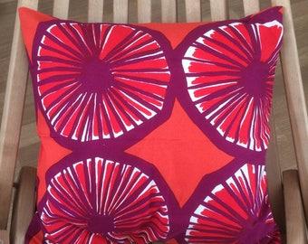 Handmade Marimekko red Appelsiini fabric pillow cover, cushion case, 40x40cm, Finland