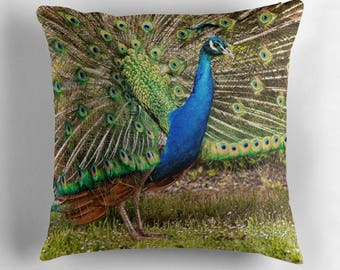 Peacock Cushion, Peacock Pillow, Peacock Decor, Bird Lover Gift, Peacock Throw Pillow, Peacock Feathers, Bird Throw Pillow, Colorful Pillow