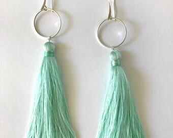 Light Sky Blue Tassel Earrings, Long lightweight Earrings, Summer Earrings Gift Bridal Shover Favors  Turquoise Red Black Handmade Tassel