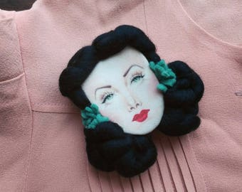 Hedy Lamarr Handmade Brooch