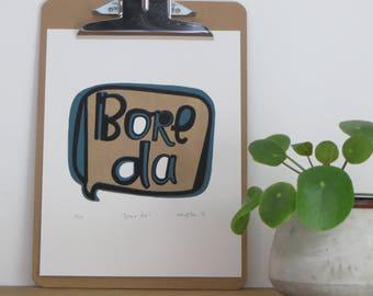 Boreda - (a Welsh Hello), a genuine Handprinted Linocut Print.