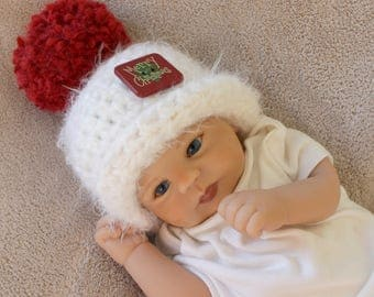 Christmas baby hat, newborn Christmas hat, baby Christmas photo prop, red and white baby Christmas hat, baby boy or girl Christmas hat