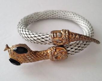 Vintage White Enamel Coiled Snake Bracelet