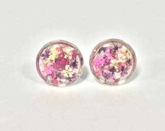 Purple and Pink Real Flower earrings.
