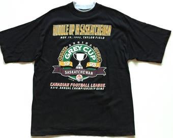 1995 saskatchewan rough riders t shirt cfl football regina canada thick cotton double t shirt size medium Deadstock new