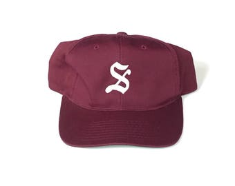 Burgundy big s Snapback Snap back Strapback hat One Size Adult Unisex twill burgnudy plain logo
