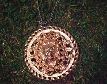 Lion door knocker necklace