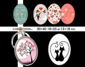 Saint Valentin 2 • 45 Images Digitales OVALES 30x40 18x25 13x18 mm amour love vie chat coeur arbre mariage