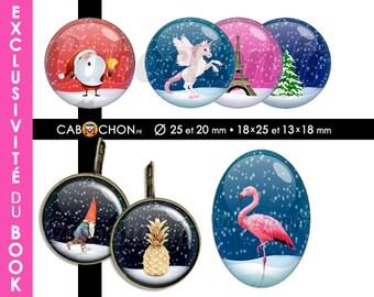 Le BOOK Créatif #6 Livre planches d images imprimées 2220 cabochons à découper cabochon bijoux papier flamingo ziggy ananas bowie unicorn